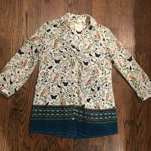 Anthropologie Button Down Shirt w/ Owls (Size 0)